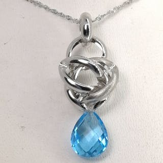 18 kt. Gold - Necklace with pendant - 4.50 ct Topaz
