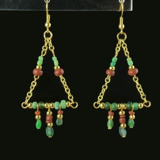 Ancient Roman Glass Earrings with green and red glass beads - 74 mm - (1)