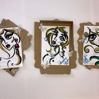 Margarita Bonke- 3 Paintings - Miss Art Star Stop erotica
