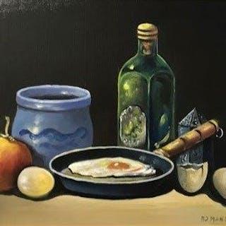 Rinus Manschot (21e eeuw) - Twee Stillevens met fruit en div.