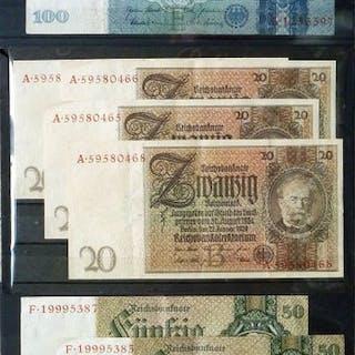 Deutschland - 9 Banknoten der Deutschen Reichsbank 10 bis...
