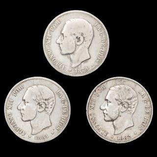 Spanien - Conjunto de 3 monedas de plata - 2 pesetas - Alfonso XII