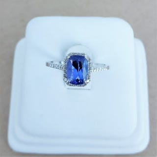 18 kt. White gold - Ring - 1.46 ct Tanzanite - Diamonds