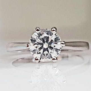 14 kt. White gold - Ring - 1.01 ct Diamond - No Reserve D/SI1
