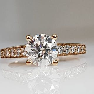 14 kt. Yellow gold - Ring - 1.44 ct Diamond - No Reserve SI1