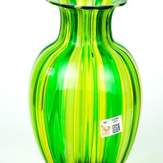 Gabriele Urban (Murano) - Green and yellow cane vase (21.5 cm) - Glass