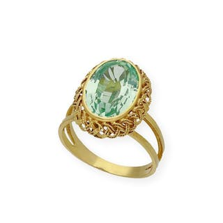 18 kt. Gold, Yellow gold - Ring Topaz