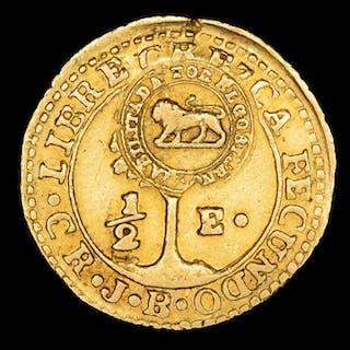 Costa Rica - Resello de Costa Rica 1849-1857- 1/2 Escudo...