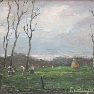 2 x Prosper Colpaert ( 1923 - 1990 )- Koeien in de weide en Boerin met koeien
