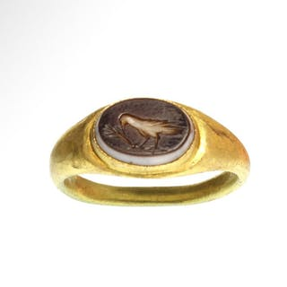 Ancient Roman Gold and Garnet Ring with Cameo Intaglio