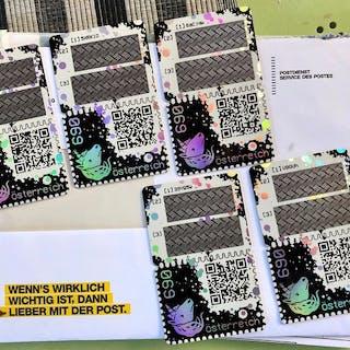 Austria - Crypto Stamp complete set with 5-digit black...