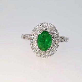 18 kt. White gold - Ring - 1.02 ct Emerald - Diamonds