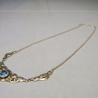 3-teiliges Art-Deko-Collier - 800 Silber - Halskette - 1.50 ct blauer Spinell