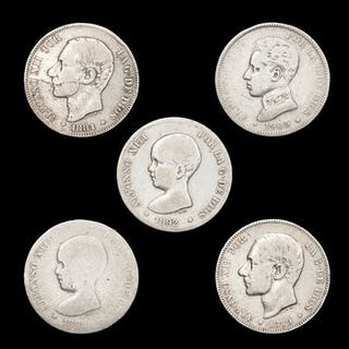 Spanien - Conjunto de 5 monedas de plata - 2 pesetas - Alfonso XII (1879