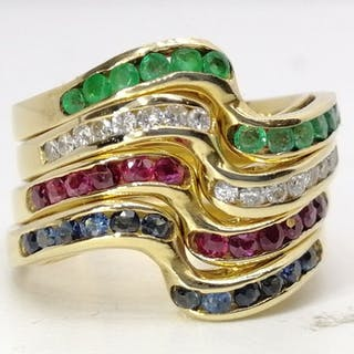 18 kt. Gold - Ring - 1.05 ct ruby emerald sapphires - Diamonds