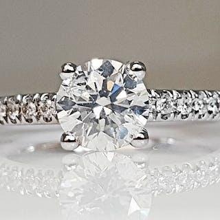 14 kt. White gold - Ring - 1.33 ct Diamond - No Reserve E/SI1