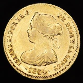 Spain - 40 reales- Isabel II (1833-1868). 1864. Madrid. - Gold