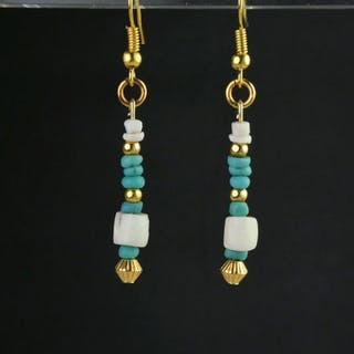 Ancient Roman Glass Earrings with turquoise glass and...