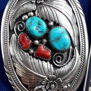Collana con grande pendente - .925 argento - Navajo - America del Sud