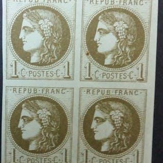 Frankreich 1870 - Bordeaux, 1 centime olive, transfer 3, block of 4 - Yvert 39C