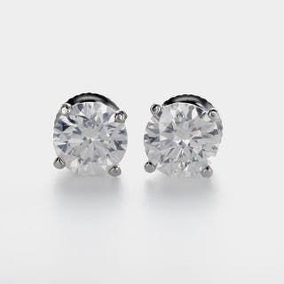 14 kt. White gold - Earrings - 2.22 ct Diamond
