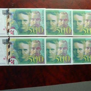 Frankreich - 6 x 500 Francs Marie Curie 1994 (5) et 1995 (1)