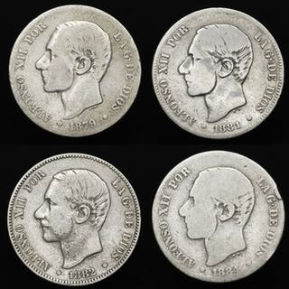 Spanien - Conjunto de 4 monedas de plata - 2 pesetas - Alfonso XII