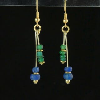 Ancient Roman Glass Earrings with blue and green glass beads - 55 mm - (1)