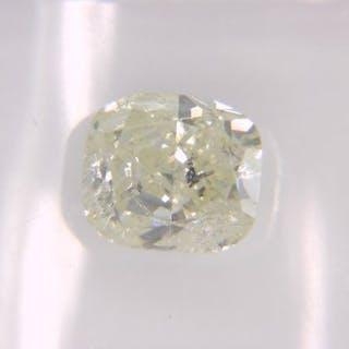 1 pcs Diamond - 1.03 ct - Cushion - Light Yellow- I1, No Reserve Price!