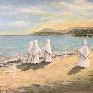 Campaiola Alfredo XX° secolo - Paesaggio con figure