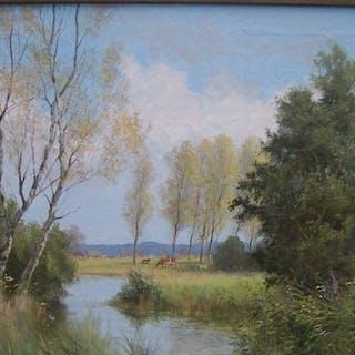 Willem Jacob Alberts (1912-1990) - Landschap met roodbonte koeien .