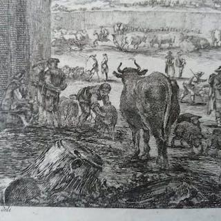 """da Stefano Della Bella, inc. Francois Denis Née (1732 - 1817) - """"Campo vaccino"""""""