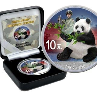 China - 10 Yuan 2017 Panda - Colored Millitary Edition - 30g - Silber