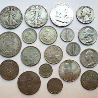 Welt - Lot various coins 1927/1964 (19 pieces)- Silber
