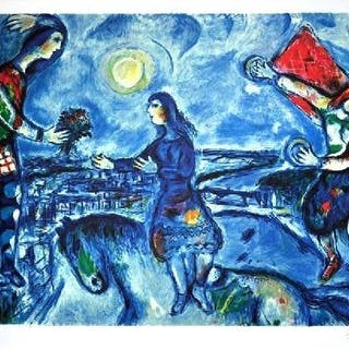 Marc Chagall - Lovers over Paris . Certificate
