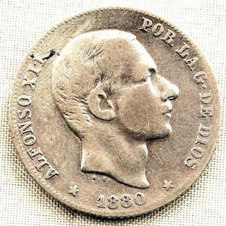 Spain - 20 Centavos de peso - 1880 - Manila - Alfonso XII - MUY RARA - Silver