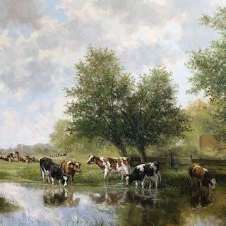 A.J.Temming (1942) - Koeien aan de waterkant