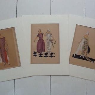 Tres Parisien - various designers - Art Deco Pouchoir Drucke