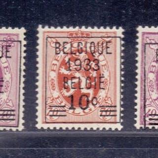 Belgien 1933 - Precancelled heraldic lion 10c overprint - OBP / COB 375A/76