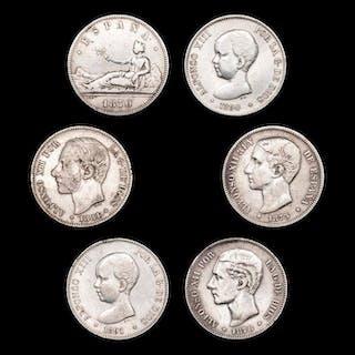 Spanien - Conjunto de 6 piezas de 5 pesetas - Gobierno Provisional España (1870)