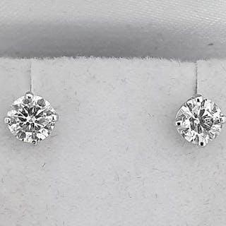 14 kt. White gold - Earrings - Clarity enhanced 1.00 ct Diamond - D/SI1