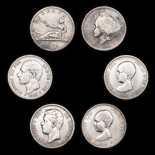 Spanien - Conjunto de 6 piezas de 5 pesetas - España (1870)