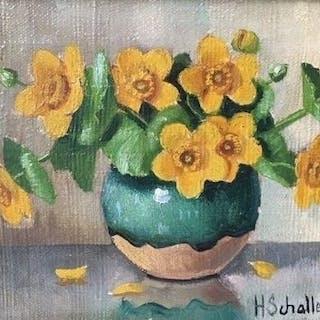 Huibert Schallenberg (1883-1981) - Bloemstilleven. Vaas met Dotterbloemen