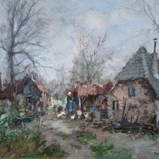 Theodurus van Oorschot (1910-1989) - Boerenerf met boerin en kippen