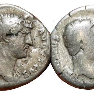 Impero romano - Lot x 2 of AR Denarius, Hadrian (AD 117-138)  - Argento