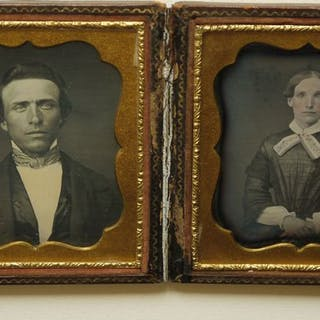 Double Plate Daguerreotype - handsome and well-dressed couple, ca 1845-1850
