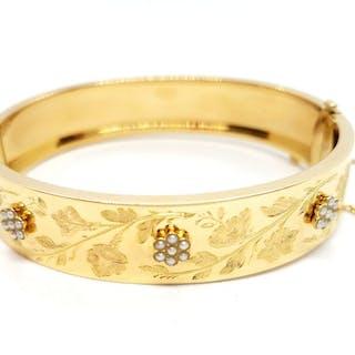 18 kts. Yellow gold - Bracelet Pearl