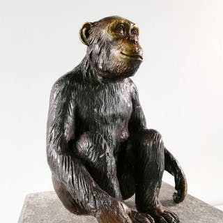 Skulptur - Bronze - chimpanzee - Afrika