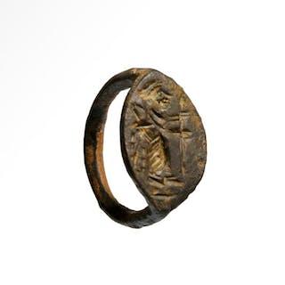 Antico Greco Bronzo Anello con figura