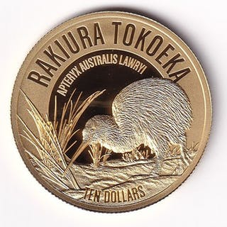 New Zealand - 10 Dollars 2017 Kiwi Rakiura tokoeka - 1/4 oz - Gold